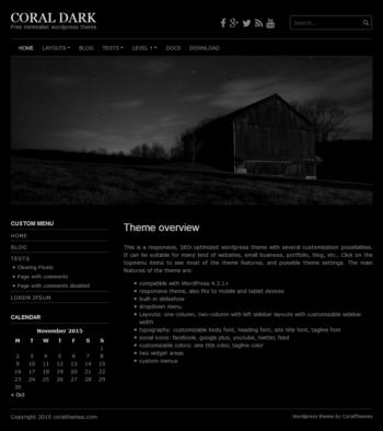 Coral Dark responsive free wordpress theme with slideshow