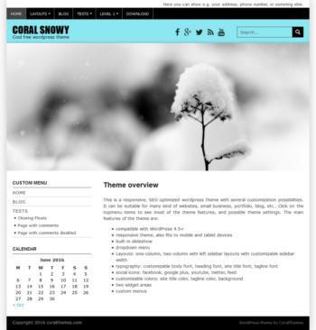 Coral-snowy responsive free wordpress theme