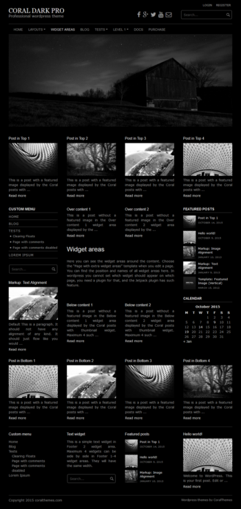 Coral Dark pro responsive wordpress theme with slideshow