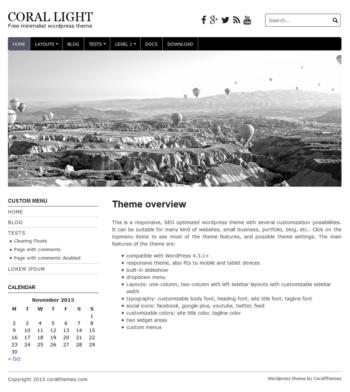 Coral light responsive free wordpress theme with slideshow