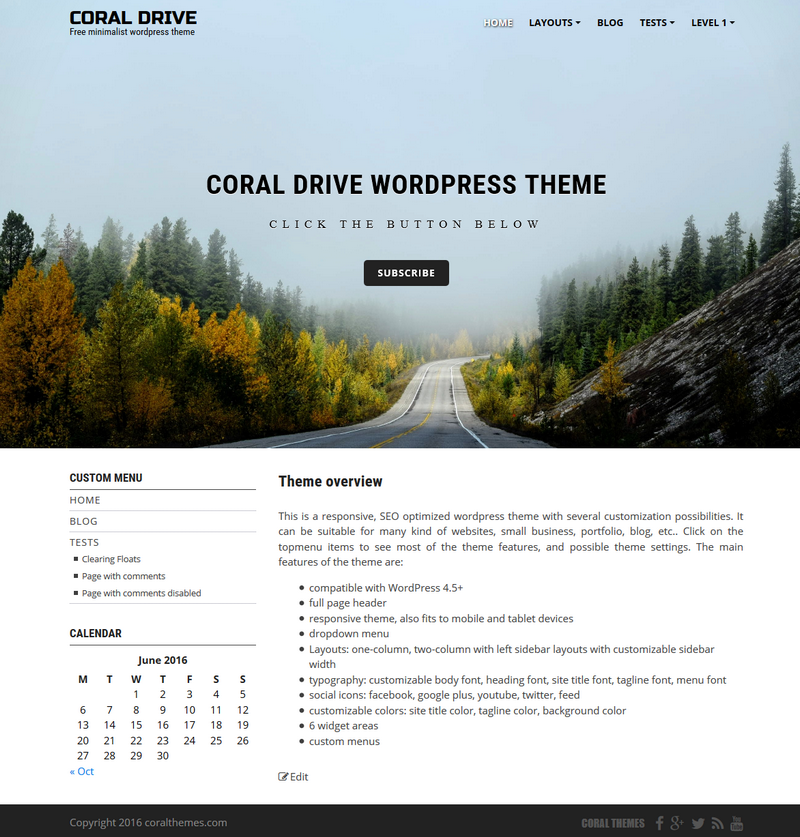 Coral Drive wordpress theme | CORALTHEMES
