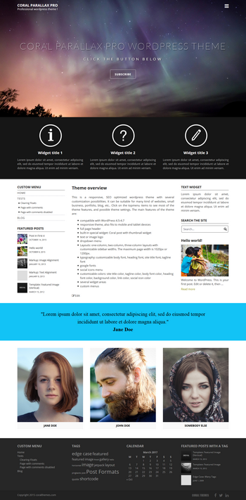 Coral Parallax Pro wordpress theme